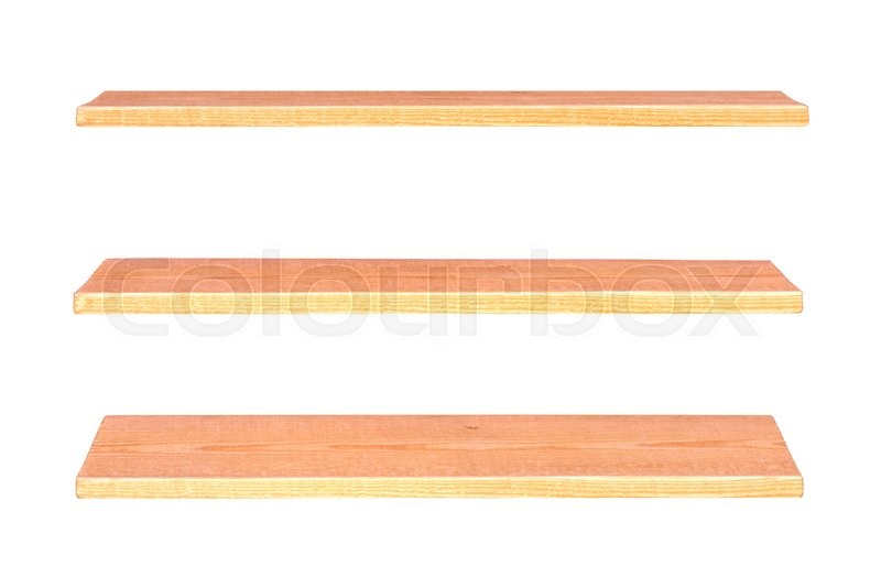 Stock image of 'Collection of wooden shelves on an isolated white background'