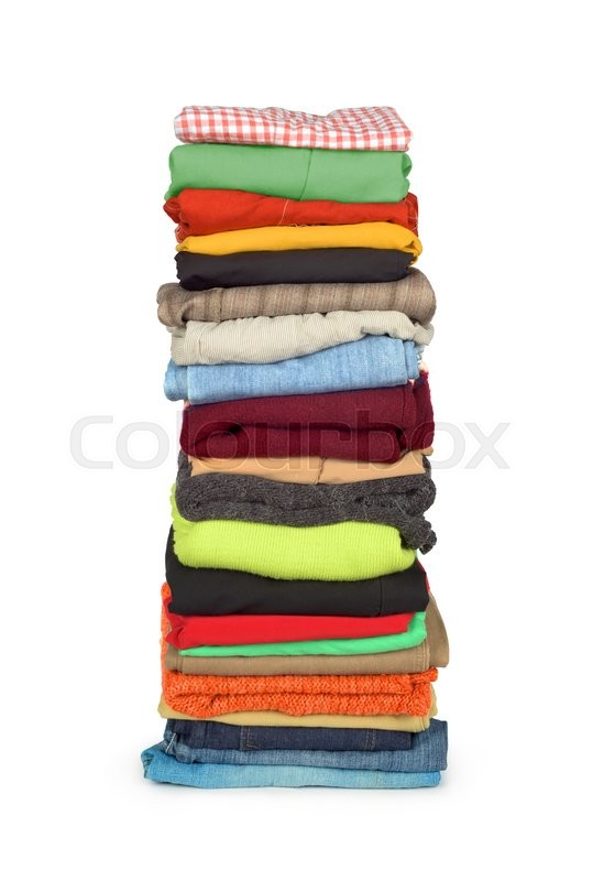 Stock image of 'Family laundry pile of clothing isolated'