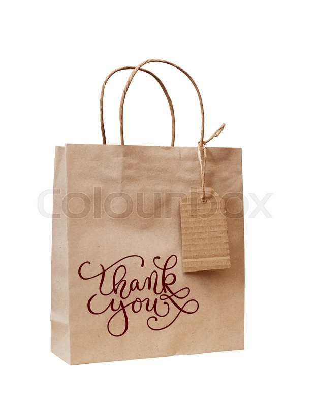 Stock image of 'Brown kraft paper bag for gift and paper tag with words thank you.'