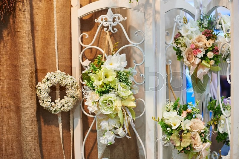Stock image of 'decor of flowers on the wedding ceremony in restaurant.'