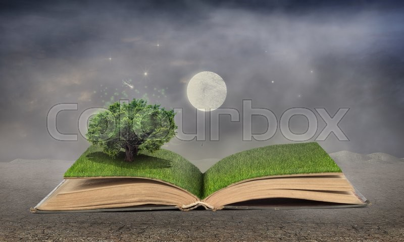 Stock image of 'Concept of dreaming. Open book full of grass with a magical tree. Moon and stars at night. Concept of reading.'