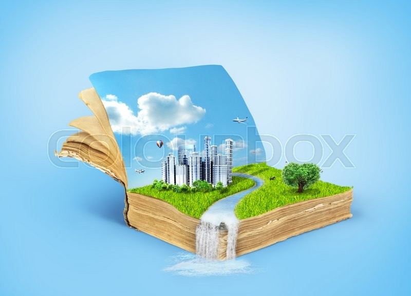 Stock image of 'Concept of magic book covered with grass with tree in the form of heart and eco city.Reading concept. Concept of the acquisition of knowledge.'