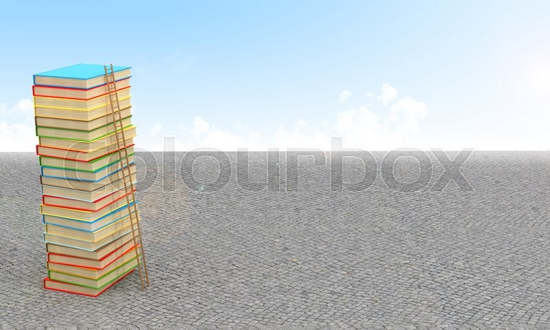 Stock image of 'Stack of books, surrounded by sky and pavement.3D illustration'