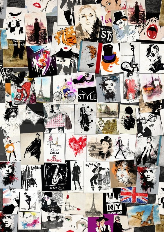 Stock image of 'Fashion collage with freehand drawings, female faces'