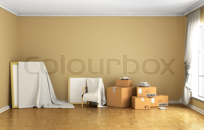 Stock image of 'Concept of moving. Box, Cardboard Boxes on the floor, against a white wall, Shipping. 3d illustraton'