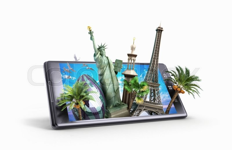 Stock image of 'Concept of travel. landmarks look out for the phone screen. online ordering vouchers. beautiful background for Camping & Outdoor theme. 3d illustration'
