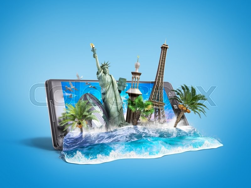 Stock image of 'Concept of travel, landmarks look out for the sea wave the phone screen, online ordering vouchers, beautiful background for Camping & Outdoor theme, 3d illustration on gradient background'