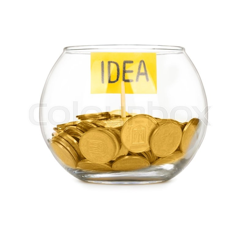 Stock image of 'Coins in a flask on white'