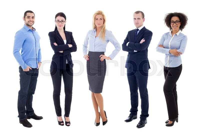 Stock image of 'full length portrait of young business people isolated on white background'