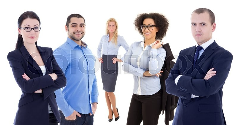 Stock image of 'multicultural team - young business people isolated on white background'