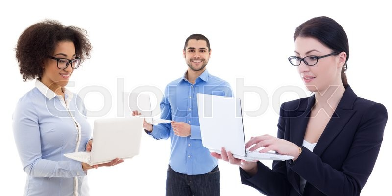 Stock image of 'internet and business concept - young business people using laptops isolated on white background'