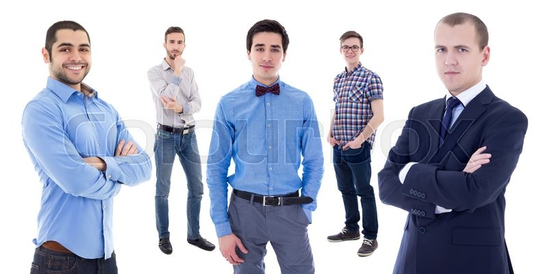 Stock image of 'portrait of young handsome business men isolated on white background'