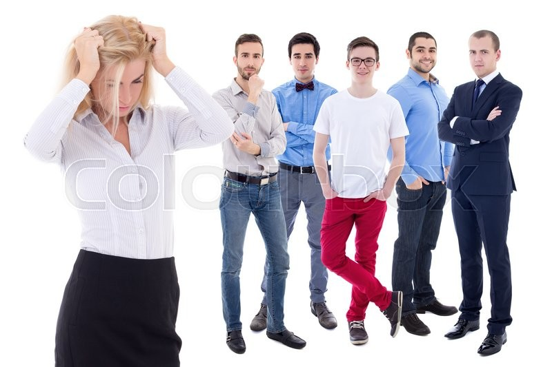 Stock image of 'stressed business woman and her collegues isolated on white background'