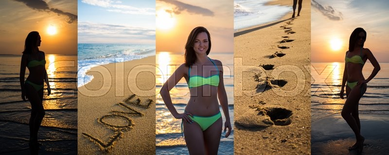 Stock image of 'collage of slim beautiful woman in bikini posing on summer beach at the evening'