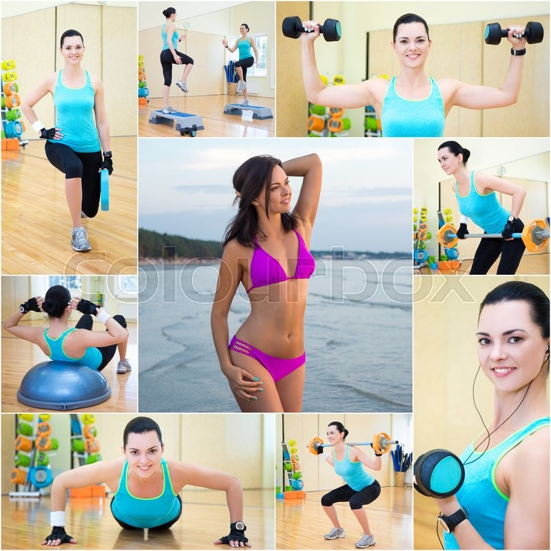 Stock image of 'collage of beautiful sporty slim woman in gym and on the beach'