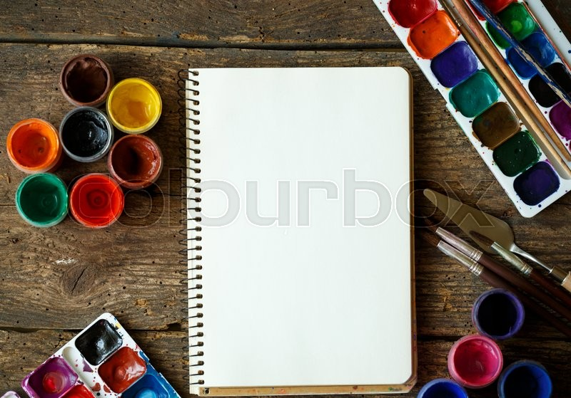 Stock image of 'Art of Painting. Painting set: paper, brushes, paints, crayons, watercolor, acrylic paint on a wooden background'