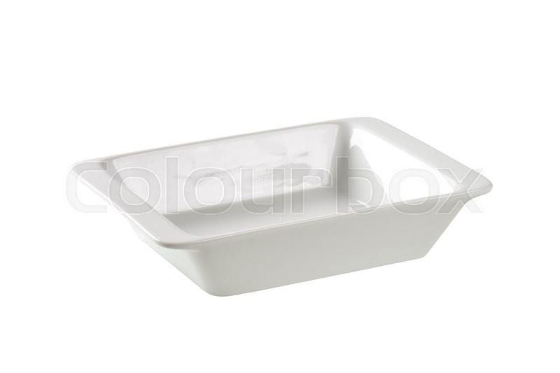 Stock image of 'Deep rectangular porcelain dish isolated on white'