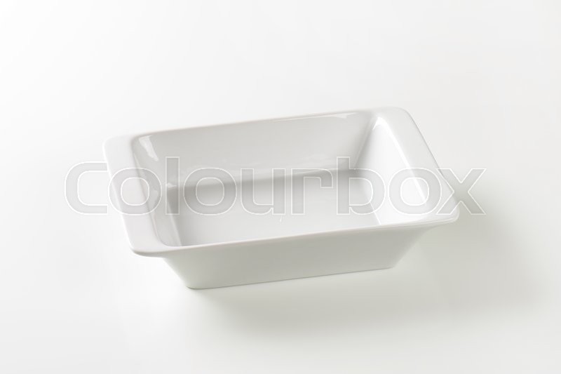 Stock image of 'Deep rectangular porcelain cook and serve dish'
