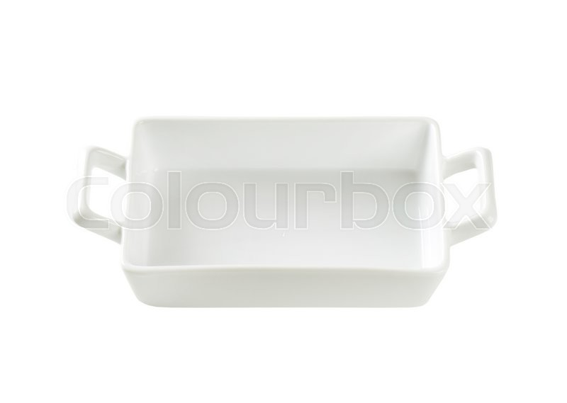 Stock image of 'Porcelain lasagna pan with handles  isolated on white'