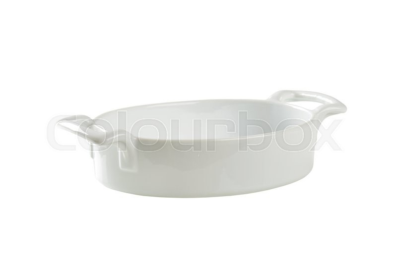 Stock image of 'Deep oval baker with two handles isolated on white'