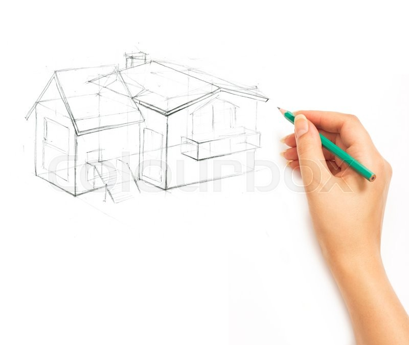 Stock image of 'Hand drawing a house with a pencil on a white background'
