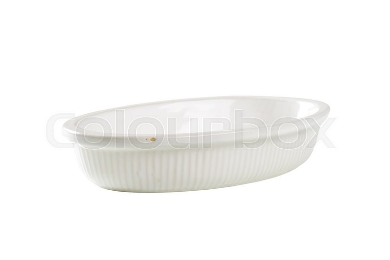 Stock image of 'Empty deep oval porcelain dish isolated on white'