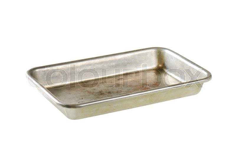 Stock image of 'Used roasting pan isolated on white'