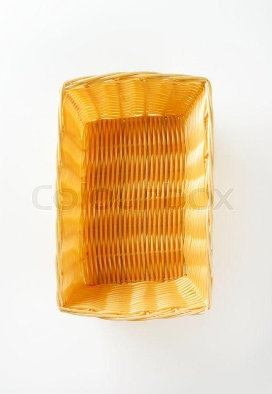 Stock image of 'Empty rectangle woven wicker basket'