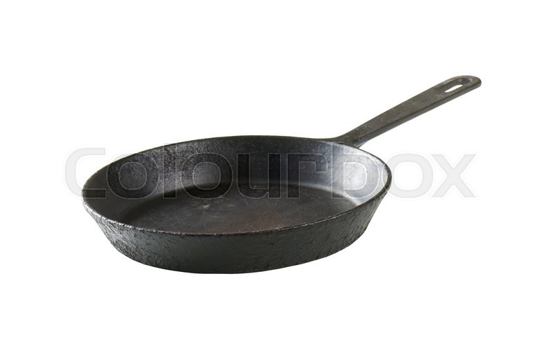 Stock image of 'Empty black skillet with one handle'