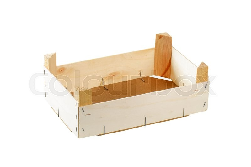 Stock image of 'Empty wooden crate isolated on white'