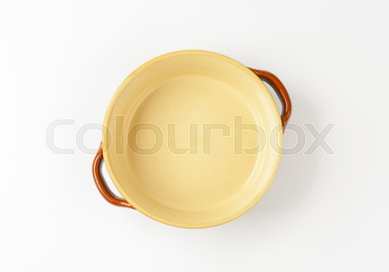 Stock image of 'Round ceramic casserole dish without lid'