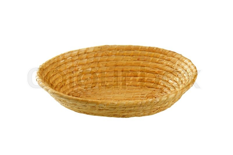 Stock image of 'Empty oval straw bread basket'