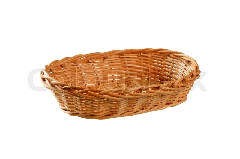 Stock image of 'Empty oval wicker bread basket'