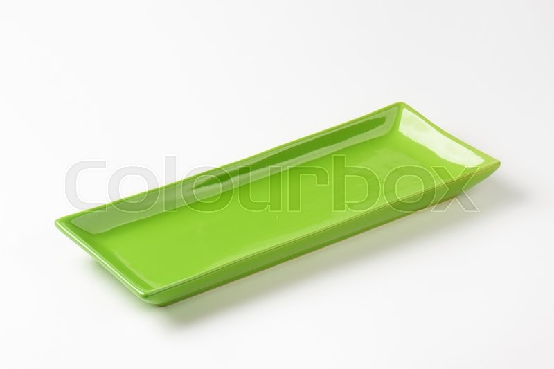 Stock image of 'Long rectangular green ceramic serving platter'