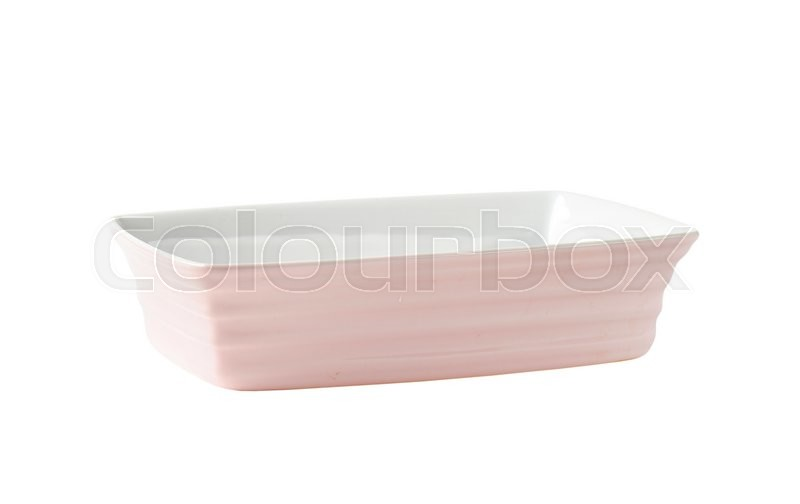 Stock image of 'Deep rectangular ceramic baker - pink on the outside, white on the inside'