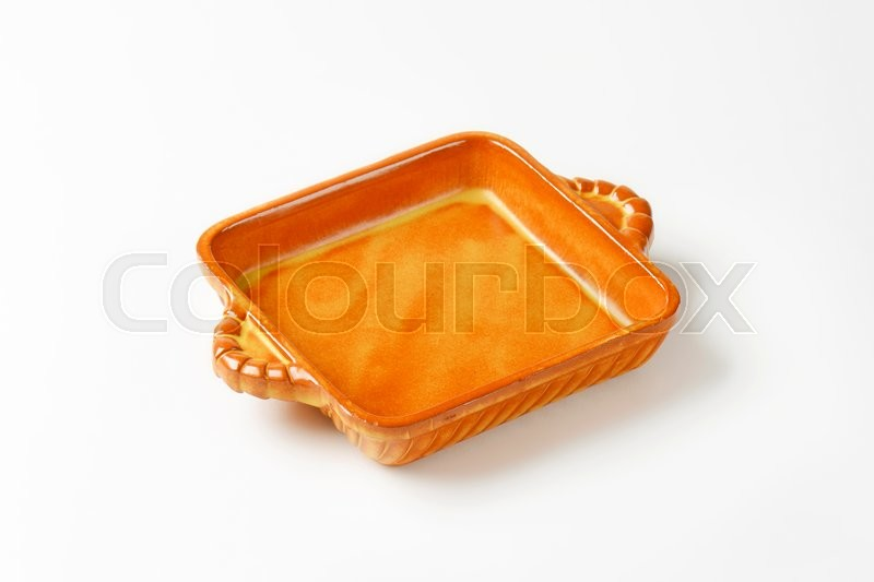 Stock image of 'Empty square ceramic baking dish'