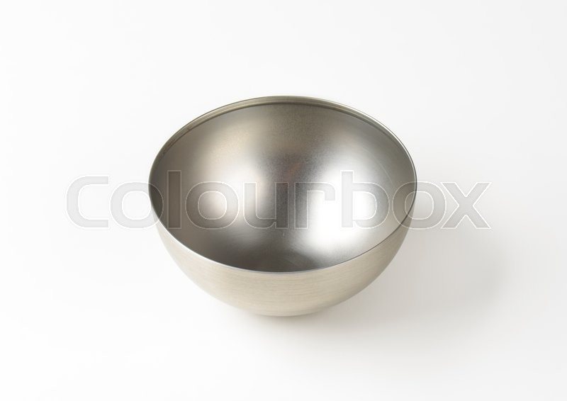 Stock image of 'Empty deep metal mixing bowl'