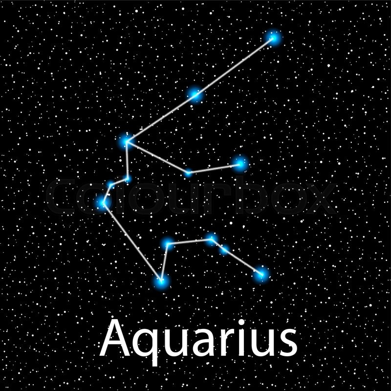 vector aquarius zodiac sign bright blue stars in cosmos