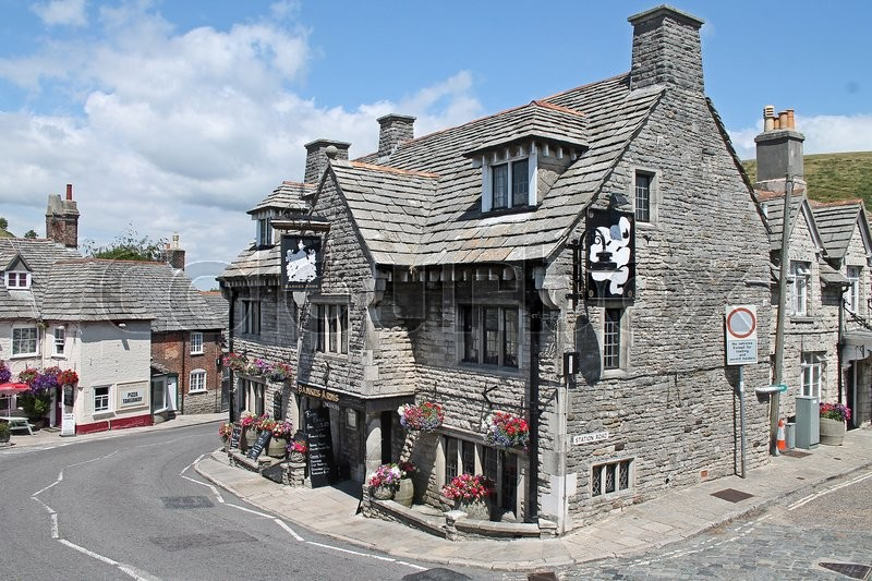 Editorial image of 'An Old English Pub in the Sunshine Corfe Dorset'