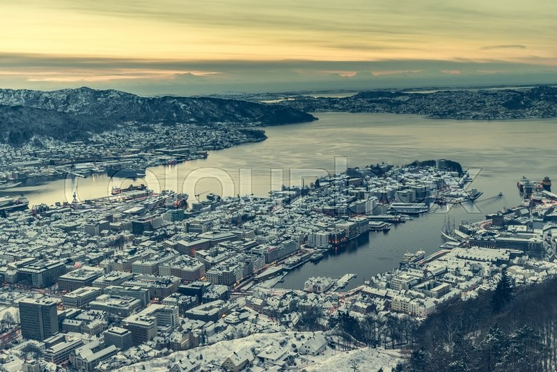 Stock image of 'panoramic view from the observation deck at Bergen, Norway'