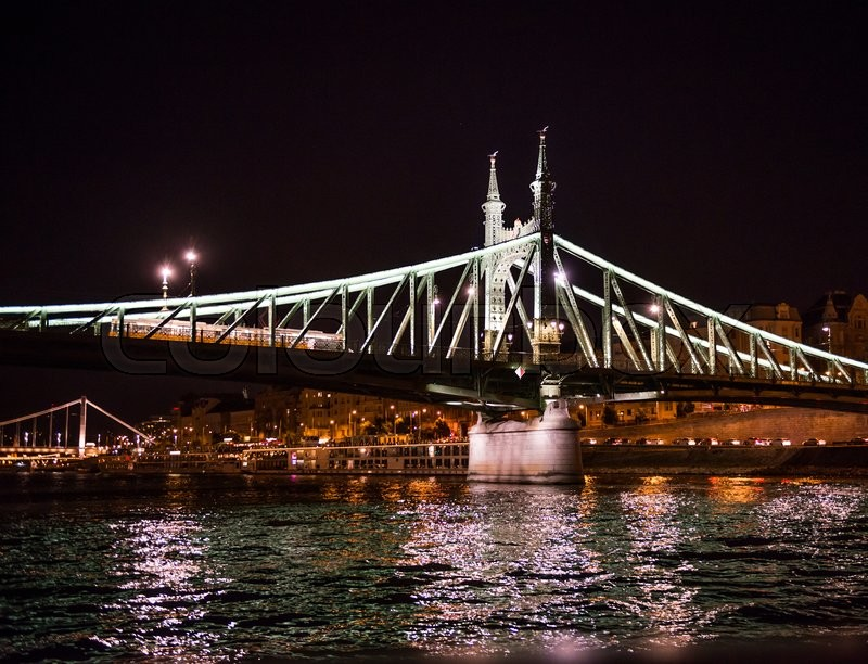 Editorial image of 'beautiful night view on the Liberty Bridge (Freedom bridge) over Danube in Budapest, Hungary'