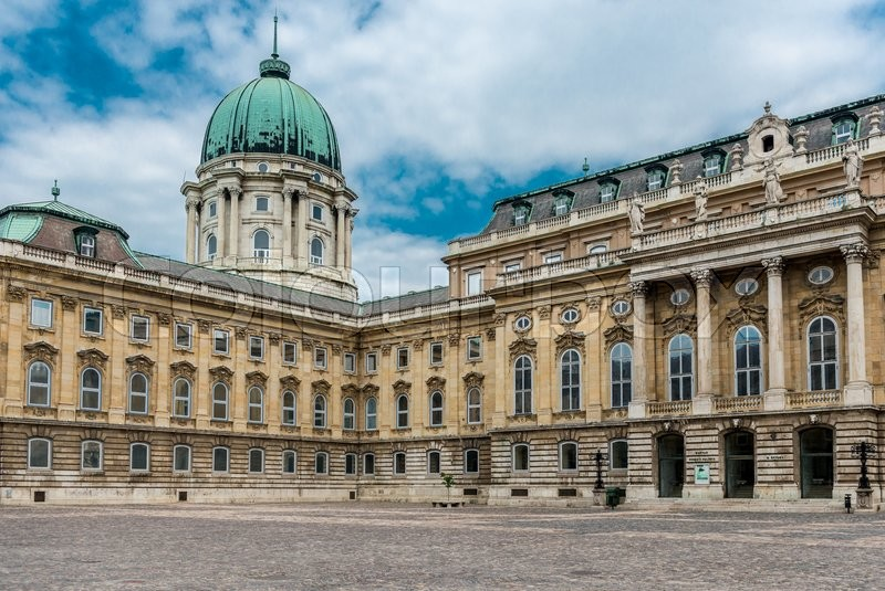 Editorial image of 'panoramic view of yard in Buda Castle in Budapest, Hungary'
