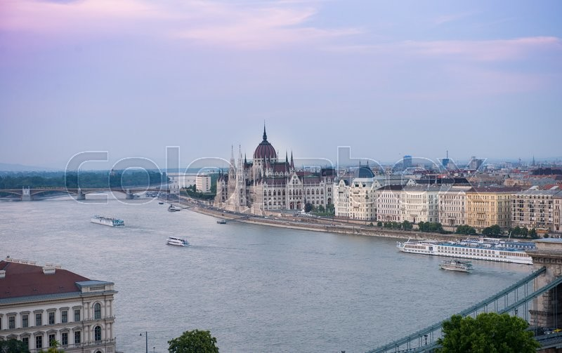 Editorial image of 'beautiful purple sunset on Danube and National Hungarian Parliament aerial photo'