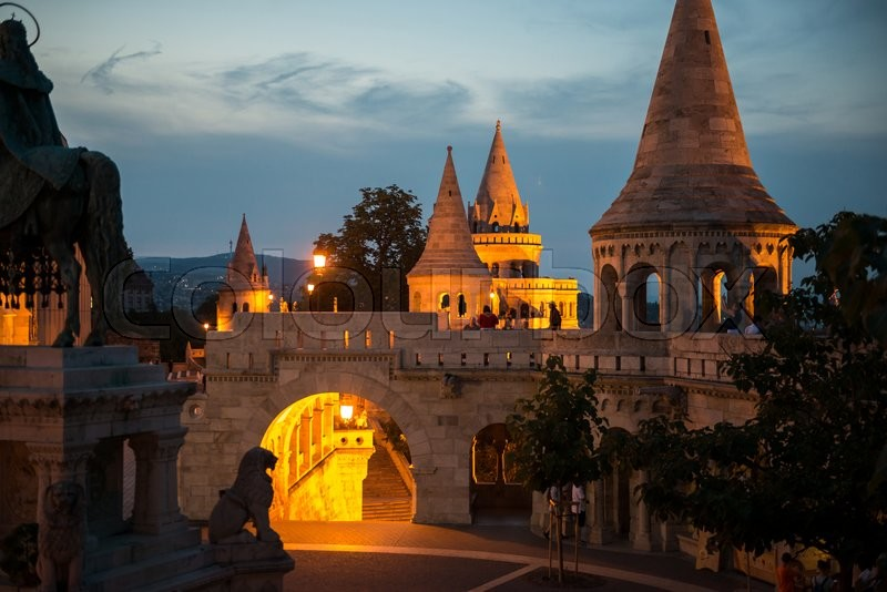 Editorial image of 'Fishermans Bastion yard in evening, Budapest, Hungary'