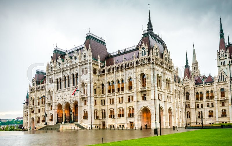 Editorial image of 'majestic view of The National Hungarian Parliament building entrance '