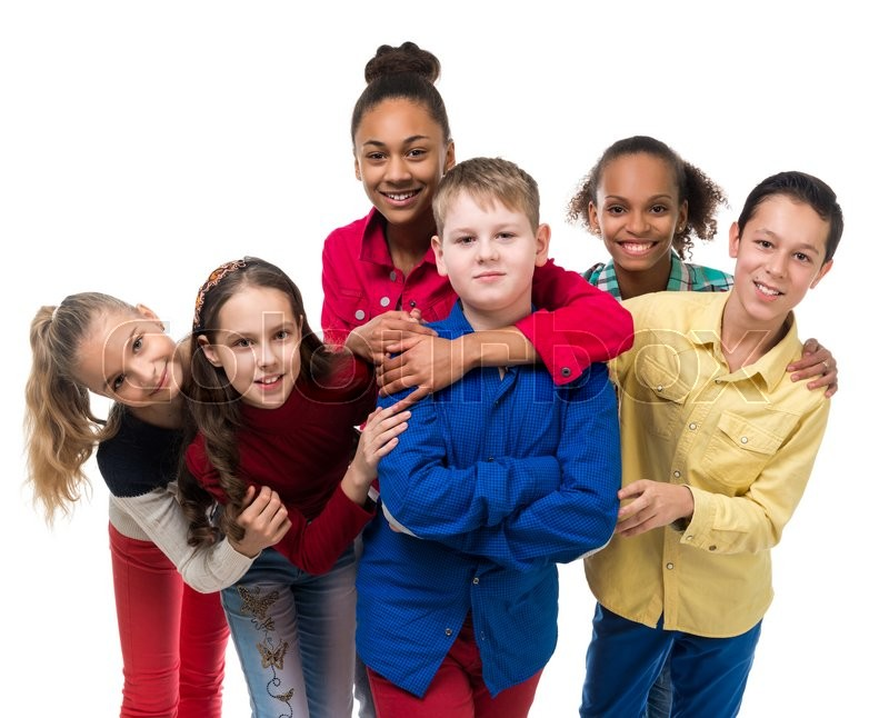 Stock image of 'a group of children with different complexion embracing isolated on white background'