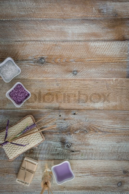 Stock image of 'Composition of spa treatment on the wooden table with space for text. Top view'