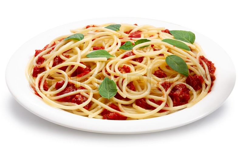 Stock image of 'Spaghetti with bolognese sauce. Clipping paths, infinite depth of field'