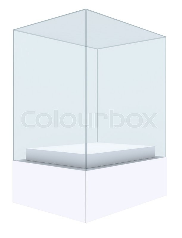 Stock image of 'Glass cube on pedestal. 3d illustration on white background'