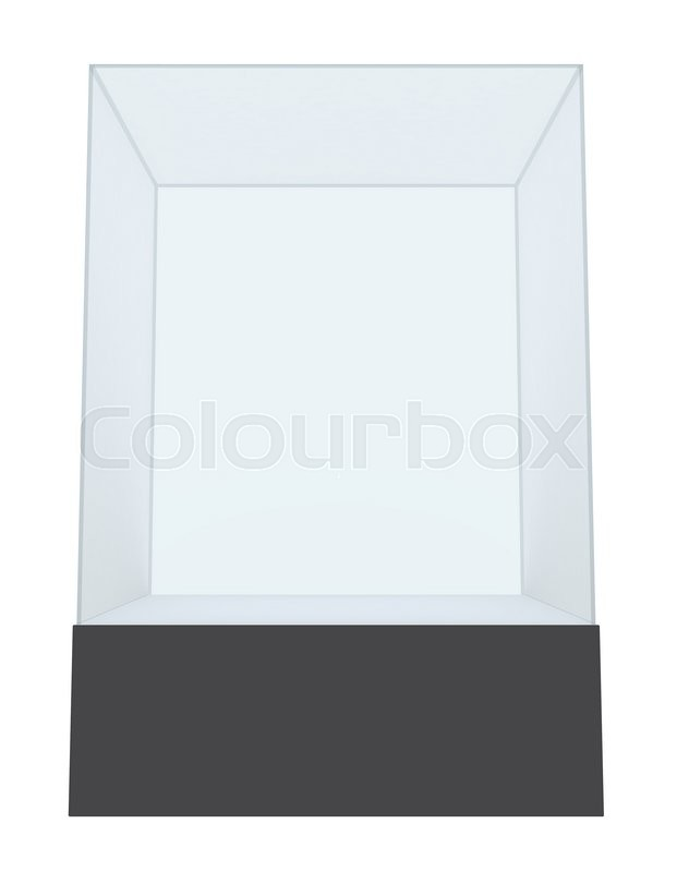 Stock image of 'Empty glass showcase for exhibit isolated. 3D rendering'